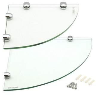 Harbour Housewares Glass Corner Bathroom / Bedroom Shelf - 1X 200X200Mm & 1X 300X300Mm