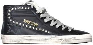 Golden Goose Slide Sneakers In Black Leather