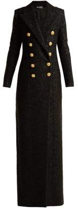 Balmain Double Breasted Wool Blend Tweed Coat - Womens - Black