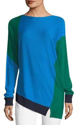 St. John Colorblock Asymmetric Long-Sleeve Sweater