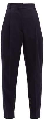 Acne Studios Phana Buttoned Hem Tapered Leg Twill Trousers - Womens - Navy