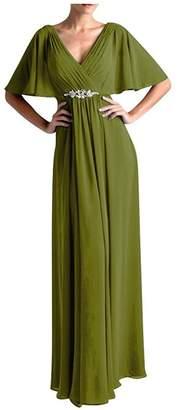 VaniaDress Women V Neck Half Sleeveles Long Evening Dress Formal Gowns V265LF US