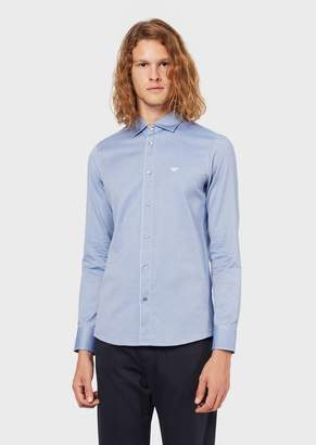 Emporio Armani Cotton Twill Shirt With Detachable Double Collar