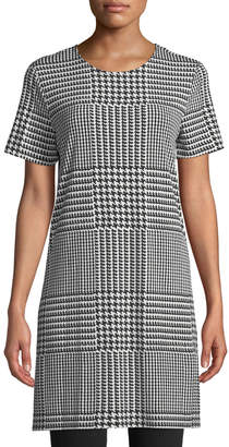 Iconic American Designer Short-Sleeve Houndstooth-Check Tunic