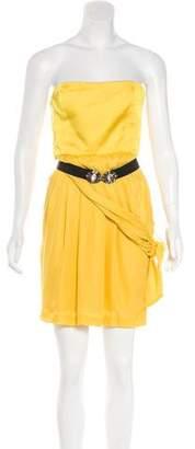 BCBGMAXAZRIA Silk Pleated Mini Dress