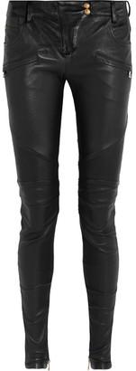 Balmain - Moto-style Leather Skinny Pants - Black $3,350 thestylecure.com
