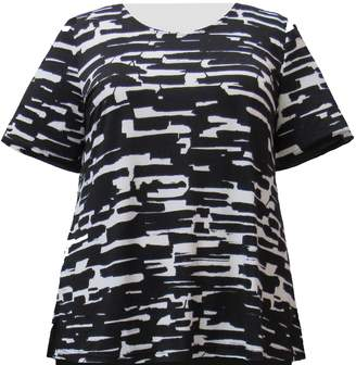 A Personal Touch Women's Plus Size Knit Top & White Abstract Geometric