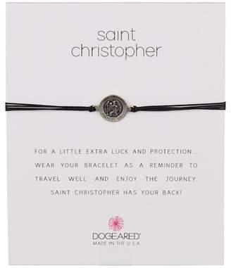 Dogeared Sterling Silver St. Christopher Cord Bracelet