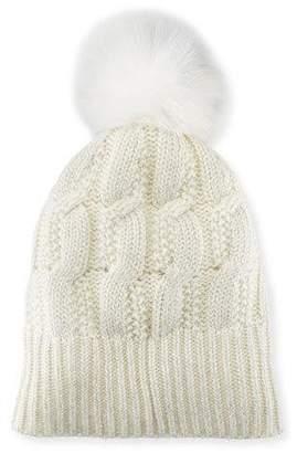 Sofia Cashmere Girls' Seed-Stitch Beanie Hat w/ Fur Pompom, Ivory