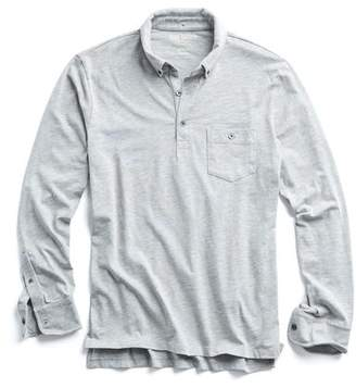 c60a5c25409 Todd Snyder Made in L.A. Slub Jersey Long Sleeve Polo in Grey