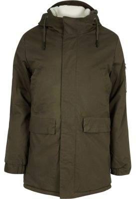 River Island Khaki fleece lined hooded coat