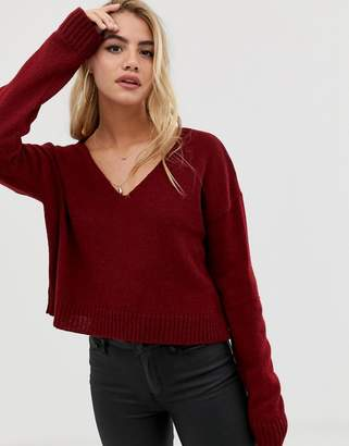 Asos Design DESIGN cropped sweater in fluffy yarn and off shoulder