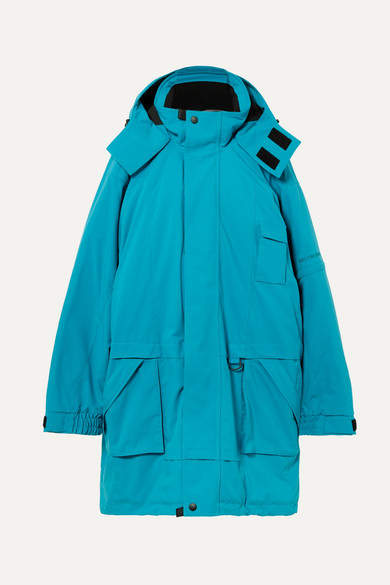 Embroidered Oversized Canvas Parka - Blue