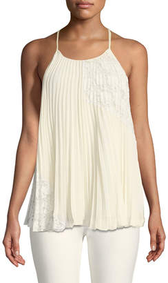 Derek Lam 10 Crosby Pleated Camisole Blouse with Lace