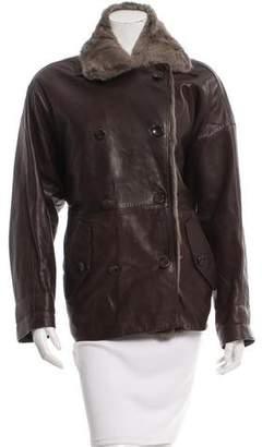 Loewe Leather Fur-Lined Coat