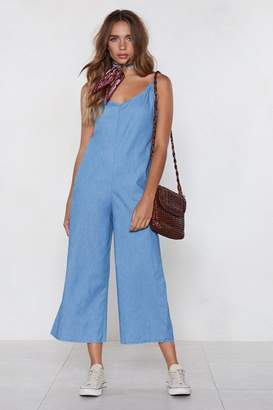 Nasty Gal Chambray It Ain't So Wide-Leg Jumpsuit
