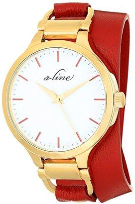A Line A _ LINE Women 's al-80027-yg-02-rdas Gemini Analog Display Japanese Quartz Red Watch