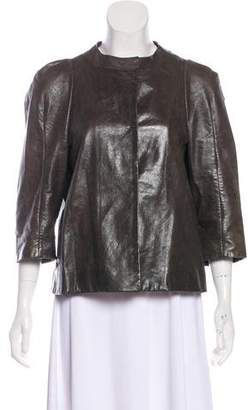 Marni Leather Button-Up Jacket