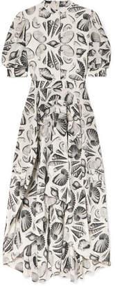 Alexander McQueen Printed Silk-crepe Midi Dress - White