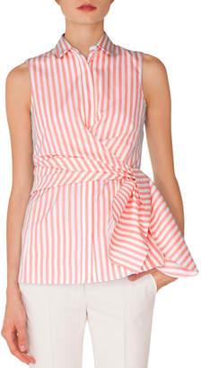 Akris Punto Sleeveless Kent-Collar Wrap-Detail Striped Shirt