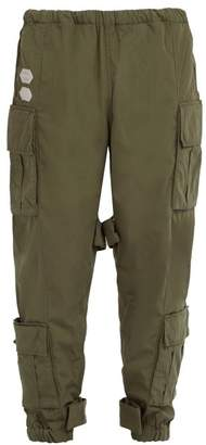 Off-White Off White Mid Rise Cotton Blend Cargo Trousers - Mens - Green