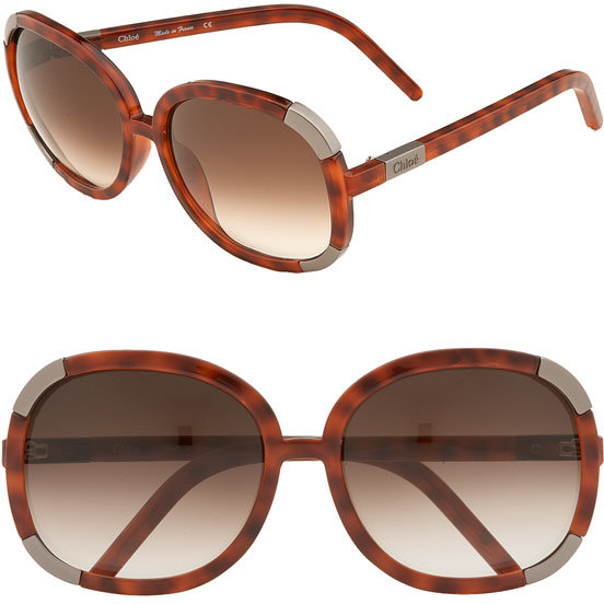 Chloé 'Myrte' Oversized Round Sunglasses with Metal Detail