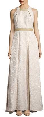 Carmen Marc Valvo Women's Brocade Halterneck Gown