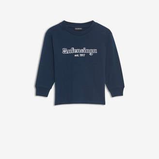 Balenciaga EST. 1917 T-Shirt in dark blue and white jersey