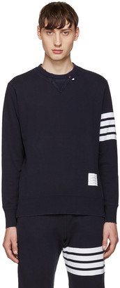 Thom Browne Navy 4 Bars Pullover $690 thestylecure.com