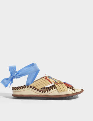 Carven Berri Lace Up Sandals in Ivory Leather