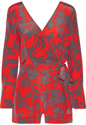 Diane von Furstenberg Wrap-effect Printed Silk Crepe De Chine Playsuit - Red