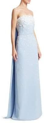 Oscar de la Renta Leaf-Embroidered Strapless Column Gown