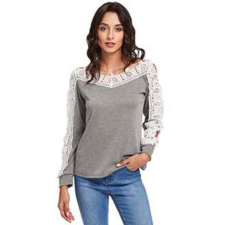 Women's Casual Tops Lace Off Shoulder Long Sleeve Loose V-Neck T-Shirt Lace Top (