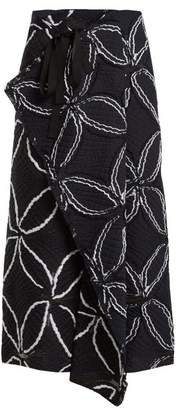 Roland Mouret Fellini Floral Cotton Blend Skirt - Womens - Navy White
