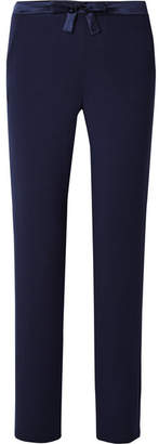 I.D. Sarrieri Satin-trimmed Stretch Modal-blend Jersey Pajama Pants - Navy