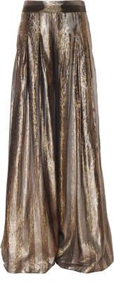 Oscar de la Renta Wide Leg Metallic Stripe Print Pants