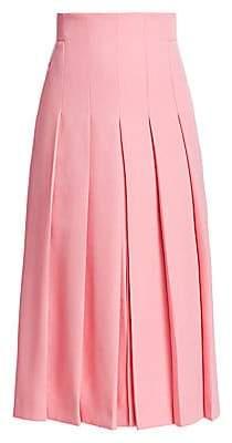 Akris Women's Wool Twill Pleat Front Skirt
