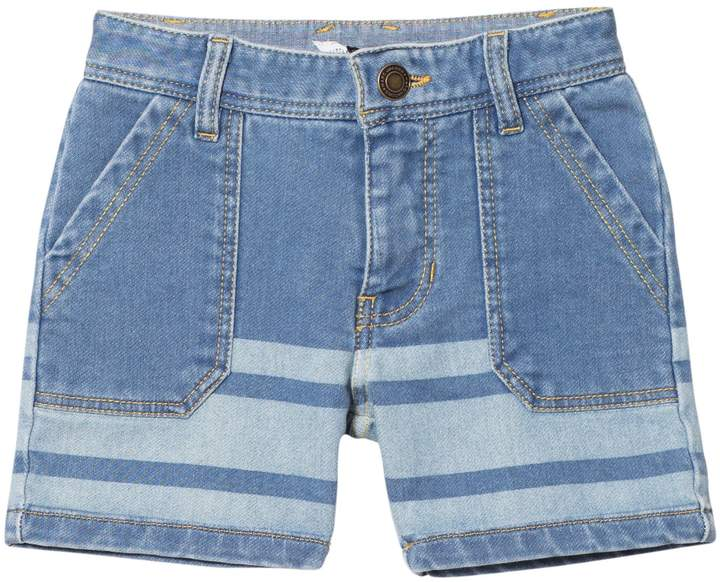 Light Wash Jersey Denim Stripe Shorts