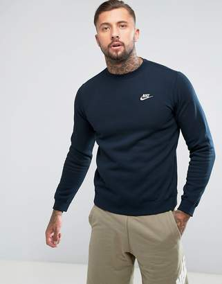 Nike Club Swoosh Crew Sweatshirt In Navy 804340-451