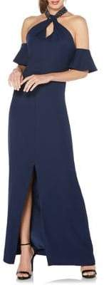 Laundry by Shelli Segal Beaded Cold-Shoulder Halter Gown