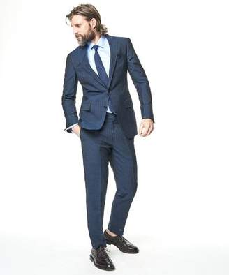 Todd Snyder Black Label Sutton Chalk Stripe Linen Suit Jacket In Indigo