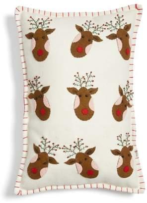 New World Arts Reindeer Accent Pillow