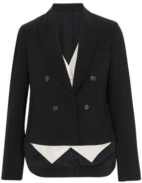Brunello Cucinelli Asymmetric Layered Stretch-Wool And Satin-Twill Blazer