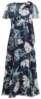 Erdem Kirstie Floral Print Silk Chiffon Midi Dress - Womens - Navy Multi