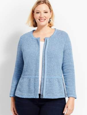 Talbots Plus Size Exclusive Space-Dyed Tweed Sweater Jacket