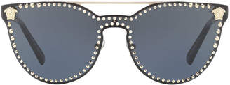 Versace Studded Flat-Top Wrap Sunglasses