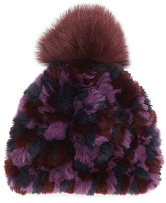 Glamour Puss Glamourpuss NYC Knitted Fur Pom-Pom Hat, Black