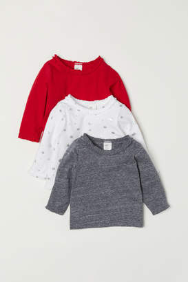 H&M 3-pack Jersey Tops - Red