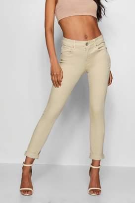 boohoo Ecru Mid Rise Skinny Jeans