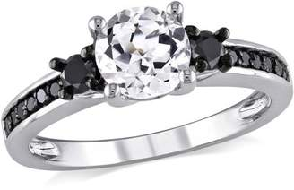 Black Diamond Asteria 1-3/8 Carat T.G.W. Created White Sapphire and 1/3 Carat T.W. Sterling Silver Three-Stone Engagement Ring